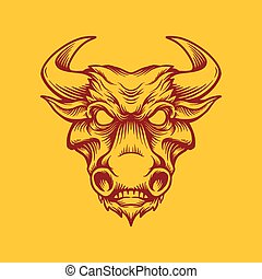 Vintage strong bull head mascot isolated vector illustration background