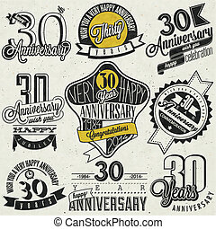 Vintage style 30 anniversary - Thirty anniversary design in...