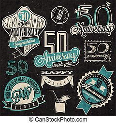 Vintage style 50 anniversary - Fifty anniversary design in...