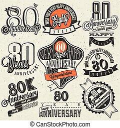 Vintage style 80th anniversary