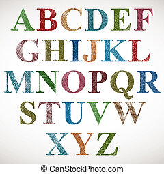 Vintage style alphabet, classic shaped letters with sketch lines texture, vector.