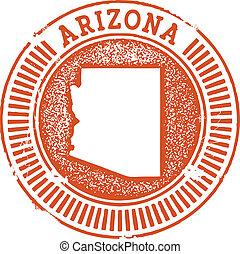 Vintage Style Arizona State Stamp - Distressed vector...