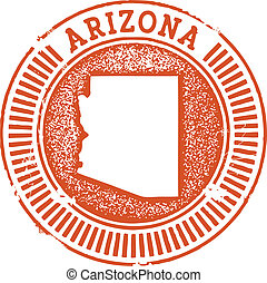 Vintage Style Arizona State Stamp - Distressed vector...