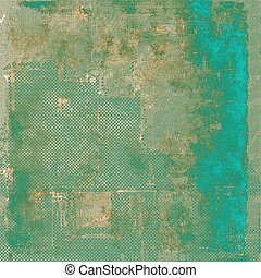 Vintage style background with ancient grunge elements. Aged texture with different color patterns: brown; green; blue; gray; cyan