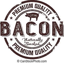 Distressed rubber stamp style clip art. Premium bacon.