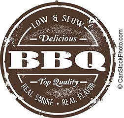 Vintage Style BBQ Stamp - Old classic style Barbecue stamp.