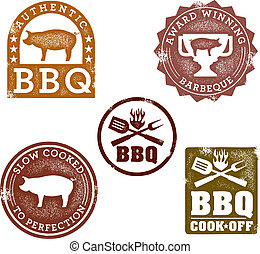 Vintage Style BBQ Stamps - A collection of barbeque themed...