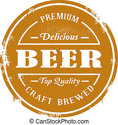 A vintage style beer rubber stamp graphic.