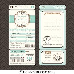 Vintage style Boarding Pass Ticket Wedding Invitation...