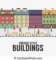 Vintage Style Buildings In The City Vector Illustration