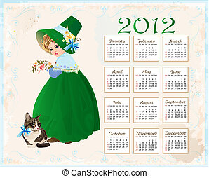 vintage  style  calendar 2012 with cat and girl