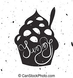 Vintage style card with frozen yogurt.
