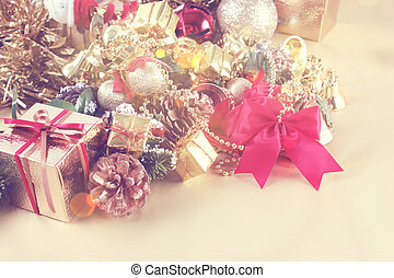 Vintage style Christmas background with gift box and decorations