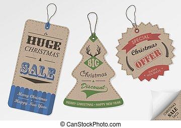Vintage style Christmas sale tags
