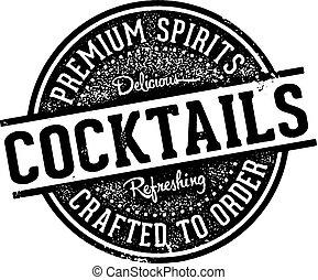 Vintage Style Cocktails Bar Sign