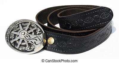 Vintage style cowboy belt with metal spur buckle