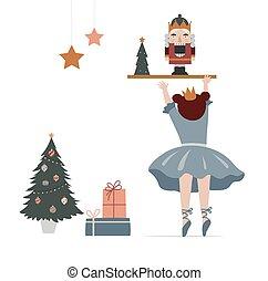 Vintage style cute Scandinavian winter concept illustration. Little ballerina trying to get nutcracker. Merry Christmas greeting card. Vector illustration