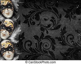 Vintage style dark masquerade background - Horizontal...