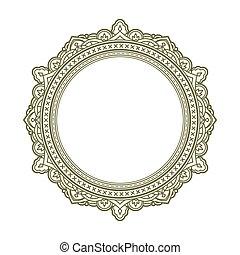 Vintage style decorative round frame. Vector illustration.