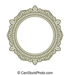 Vintage style decorative round frame. Vector illustration.