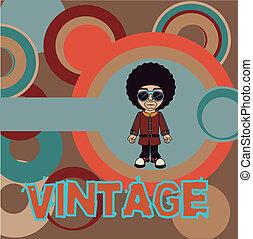 vintage style design over pattern background vector...