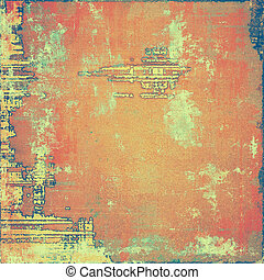 Vintage style designed background, scratched grungy texture with different color patterns: yellow (beige); brown; blue; red (orange); gray