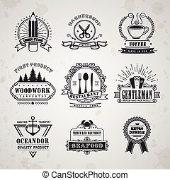 vintage style emblems set