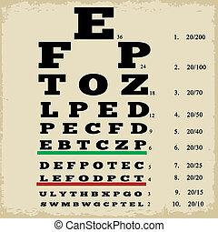 Vintage style eye chart - Vintage style grunge eye chart,...