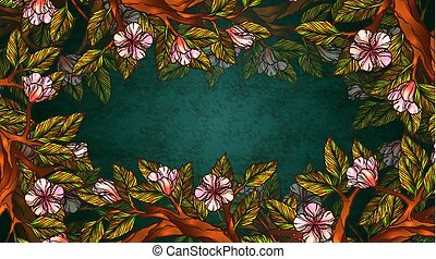 Vintage style floral background or frame