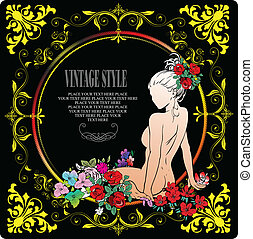 Vintage style frame with nude girl image. Vector...