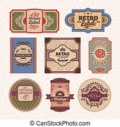 vintage style frames - Set of vintage style labels and...