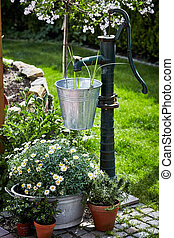 Vintage style garden landscaping in spring