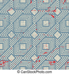 Vintage style geometric seamless background, retro vector repeat pattern with aged grunge dirty texture.