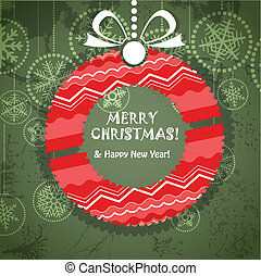 Vintage style greeting card with ornamented wreath