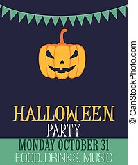 Vintage style Halloween party flyer