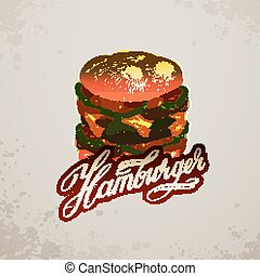 Vintage style hamburger sign background