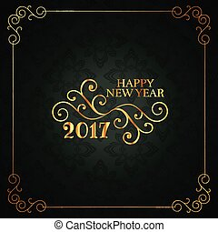 vintage style happy new year card with floral design