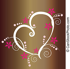 Vintage style heart logo background
