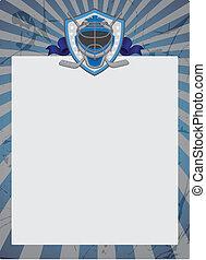 Vintage Style Hockey background. Ice Hockey Goalie Mask...