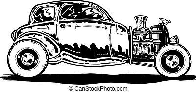 Vintage style Hotrod car illustration