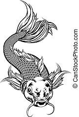 Vintage Style Koi Carp Fish - An illustration of a coy koi...