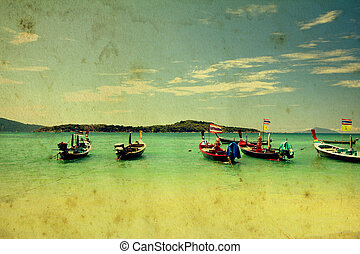 Vintage style Long Tail Boats