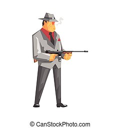 Vintage Style Mafioso With Machine Gun