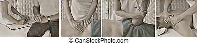 Vintage Style Massage Banner - Series of four images showing...