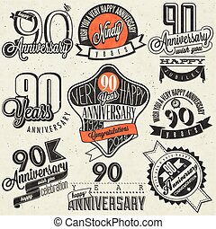 Ninety anniversary design in retro style. Vintage labels for anniversary greeting. Hand lettering style typographic and calligraphic design elements