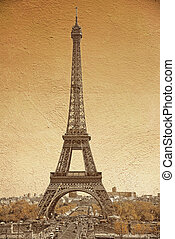 vintage style of famous Eiffel Tower in Paris, France