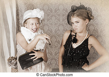 Vintage style portrait of two little girls