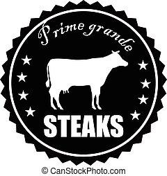 Vintage style prime steaks stamp vector eps 10