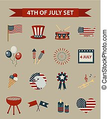 Vintage style set of patriotic icons Independence Day of America. July 4th collection of design elements, isolated on white background. Vector illustration, clip-art.