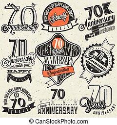 Vintage style Seventy anniversary